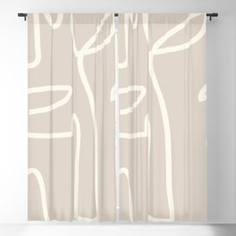 Abstract line art / Face/beige Blackout Curtain