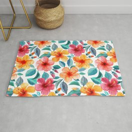 Colorful Watercolor Hibiscus on Clean White Rug