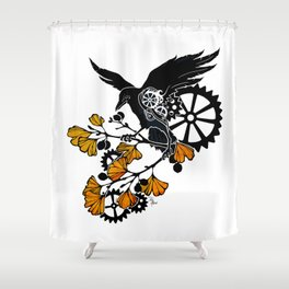 Raven and Ginkgo - Autumn Cycle Shower Curtain