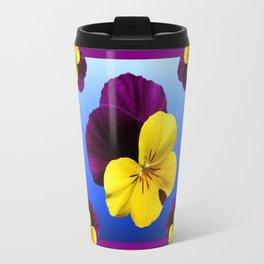 Decorative Shaded Blur Yellow-Purple Violas Art Travel Mug