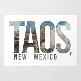 Taos, New Mexico Typographical Print Art Print
