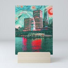 Starry Night Over San Francisco California Skyline-Orange and Green Mini Art Print
