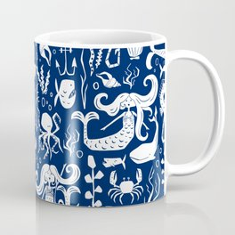 Under The Sea Navy Blue Coffee Mug