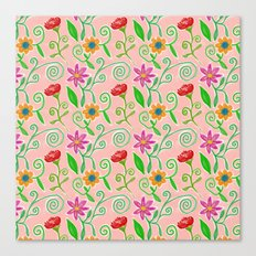 Lovely Colorful Floral Pattern Canvas Print