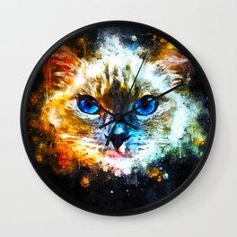blue eyes ragdoll cat splatter watercolor Wall Clock