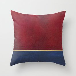 Deep Blue, Red And Gold Abstract Painting Throw Pillow