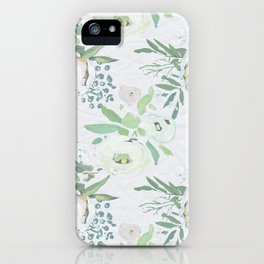 Blush pink white green watercolor modern floral berries pattern iPhone Case