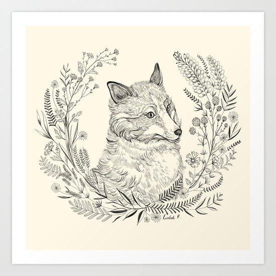Fox and foliage Art Print