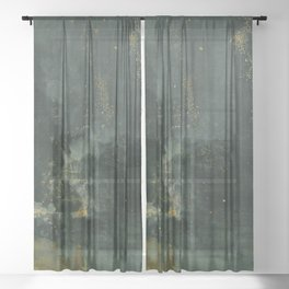 Nocturne In Black And Gold The Falling Rocket By James Mcneill Whistler | Reproduction Sheer Curtain