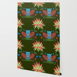 Tropical Totem And Leaves Landscape Wallpaper