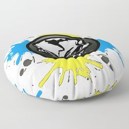 blue and yellow skull logo Floor Pillow
