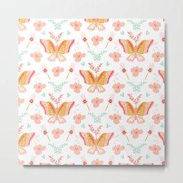 Modern cute pastel coral teal butterfly floral pattern Metal Print