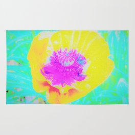 Yellow Poppy with Hot Pink Center on Turquoise Blue Rug