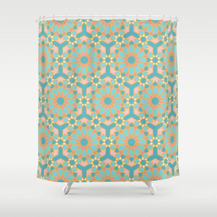 Elegant pastel islamic geometric pattern, teal & orange Shower Curtain