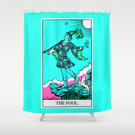 0. The Fool- Neon Dreams Tarot Shower Curtain