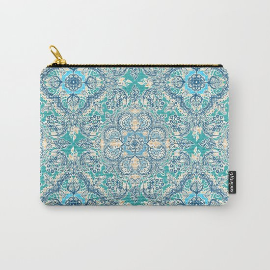 Gypsy Floral in Teal & Blue Carry-All Pouch