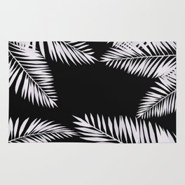 Watercolor tropical palm leaves black Rug