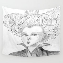 Queen of Hearts from Alice in Wonderland Original Pencil on Paper Wall Tapestry