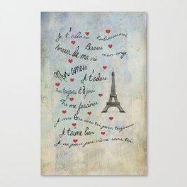 Paris Amour Valentines Design  Canvas Print