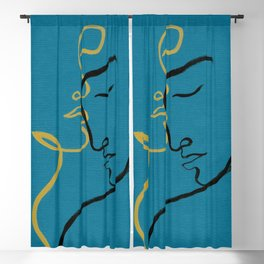 abstract man and woman. illustration. watercolor painting Blackout Curtain