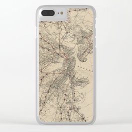Vintage Map of Boston Railroads (1876) Clear iPhone Case