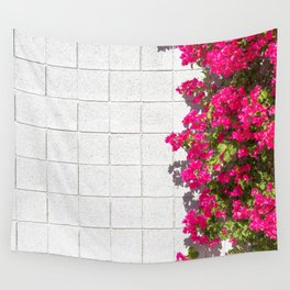 Bougainvilleas and White Brick Wall in Palm Springs, California Wall Tapestry