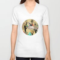 wolf V-neck T-shirts featuring Found You There  by Sandra Dieckmann