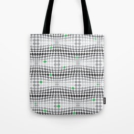 Dottywave - Grey and green wave dots pattern Tote Bag