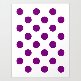 Large Polka Dots - Purple Violet on White Art Print