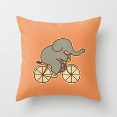 Elephant Cycle Throw Pillow