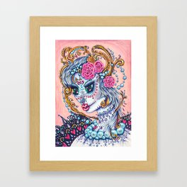 Pink Victorian Queen of Hearts wearing roses in Sugar Skull Make up for Day of the Dead Festival Framed Art Print