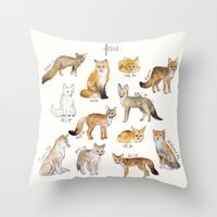 foxes Throw Pillows featuring Foxes by Amy Hamilton