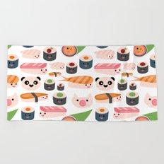 Kawaii sushi white Beach Towel