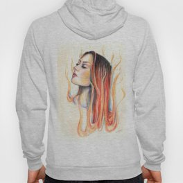 """Blaze"" Fire spirit Watercolour portrait Hoody"