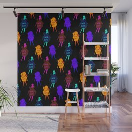 Homebody Pattern Black - Introvert Day and Night Wall Mural