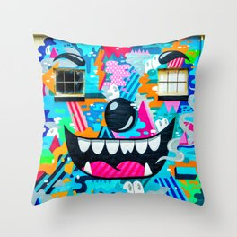 Face on a wall Throw Pillow