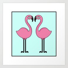 Flamingo's love Art Print