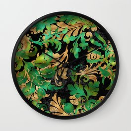 Jungle Floral Neck Gator Green Gold and Black Jungle Flowers Wall Clock