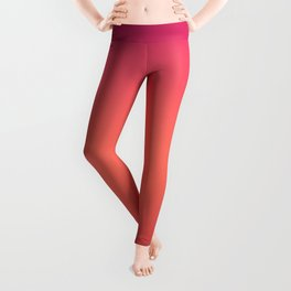 Living Coral Pink Peacock Jester Red Gradient Ombre Pattern Leggings