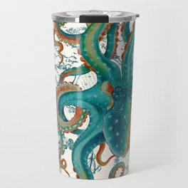 Teal Octopus Vintage Map Watercolor Travel Mug