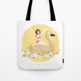 Summer Pool Party - Gold Swan Float E Tote Bag