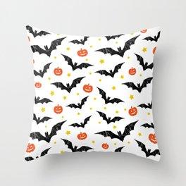 Halloween Pumpkins And Bats Throw Pillow