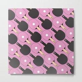 Ping Pong / Table Tennis Pattern (Pink) Metal Print