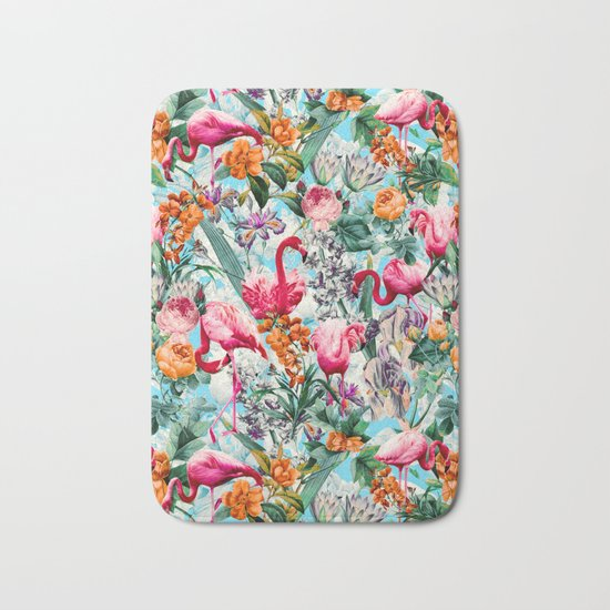 Floral and Flamingo VII pattern Bath Mat