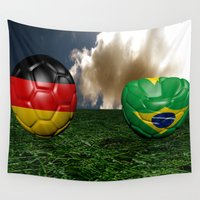 world cup Wall Tapestries featuring Soccer World Cup GER BRA by Littlebell