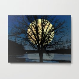 Modern Tree and Moon Over Midnight Blue Lake Art A479 Metal Print