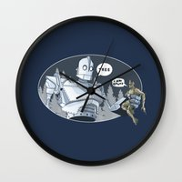 iron giant Wall Clocks featuring The Giant & Groot by Daydreams and Giggles Studios
