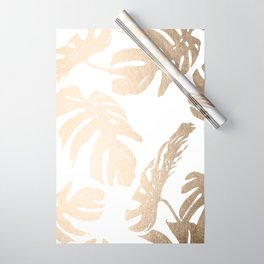 Simply Tropical Palm Leaves in White Gold Sands Wrapping Paper