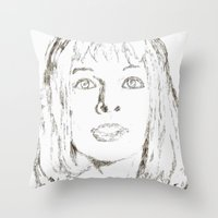 fifth element Throw Pillows featuring Leeloo Fifth Element sketch- Milla Jovovich  by Robin Stevens