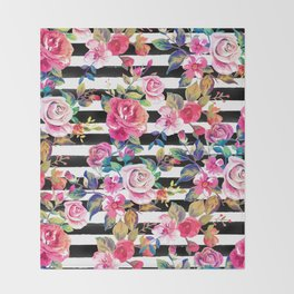 Cute spring floral and stripes watercolor pattern Throw Blanket